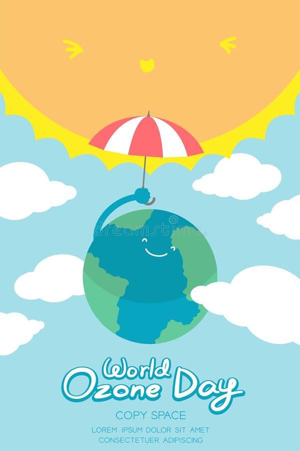 世界臭氧天9月16日垂直的横幅集合、全球性变暖概念微笑地球与伞保护,太阳、天空和云彩 库存例证