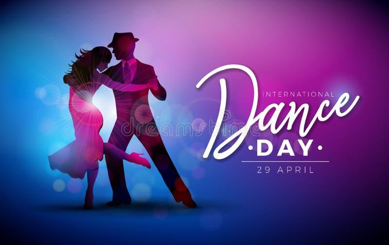 世界舞蹈日与探戈跳舞的夫妇的传染媒介例证在紫色背景 横幅的设计模板 皇族释放例证