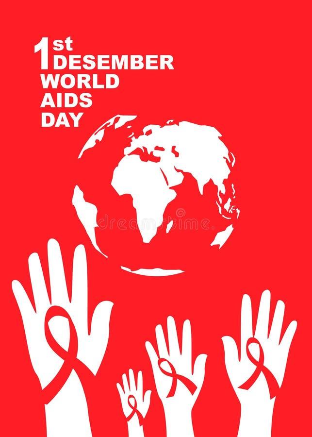 世界艾滋病日标志 12月1日世界援助天 援助了悟 红色丝带 世界援助天横幅或海报  图库摄影