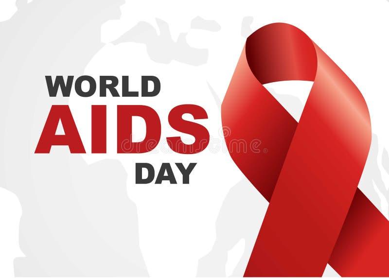 世界艾滋病日标志 12月1日世界援助天 援助了悟 红色丝带 世界援助天横幅或海报  免版税库存照片