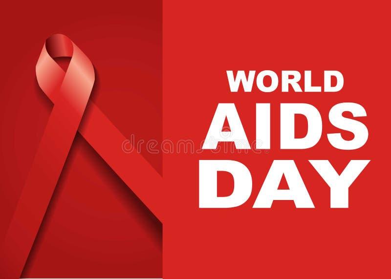 世界艾滋病日标志 12月1日世界援助天 援助了悟 红色丝带 世界援助天横幅或海报  免版税库存图片