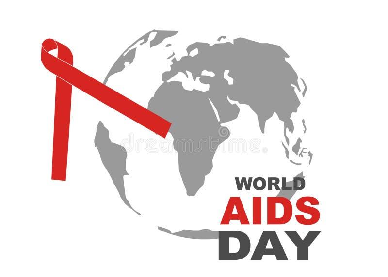 世界艾滋病日标志 12月1日世界援助天 援助了悟 红色丝带 世界援助天横幅或海报  免版税图库摄影
