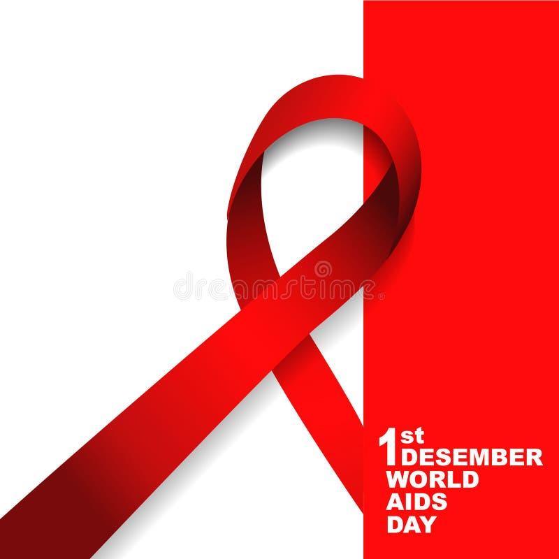 世界艾滋病日标志 12月1日世界援助天 援助了悟 红色丝带 世界援助天横幅或海报  库存照片