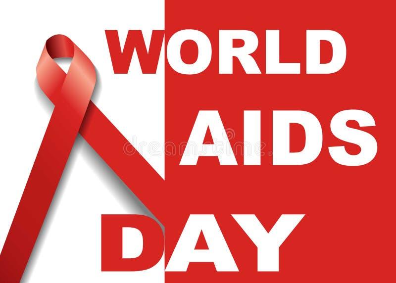 世界艾滋病日标志 12月1日世界援助天 援助了悟 红色丝带 世界援助天横幅或海报  库存图片