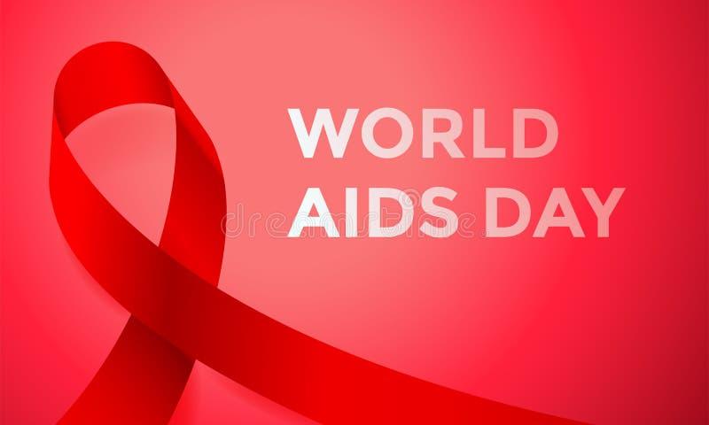 世界艾滋病日红色丝带海报或横幅为12月1日了悟世界天 导航HIV和艾滋病丝带商标标志或象征ba 皇族释放例证