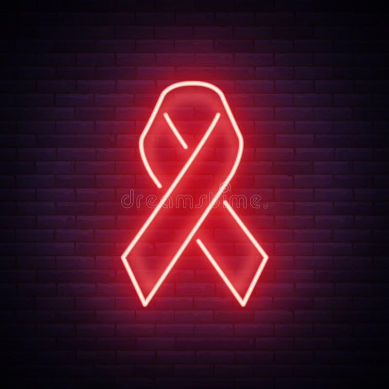 世界艾滋病日, HIV感染症的红色丝带从HIV 在一个霓虹样式的传染媒介例证 霓虹灯广告,您的一个标志 皇族释放例证