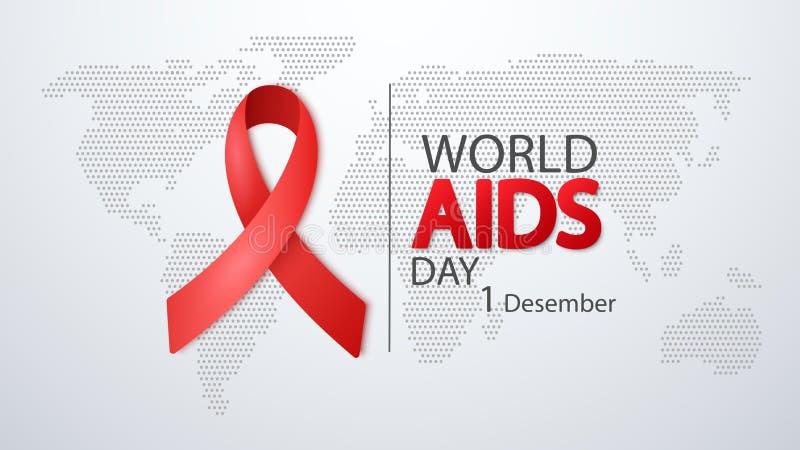 世界艾滋病日12月1日 与红色丝带的海报在世界地图 也corel凹道例证向量 皇族释放例证