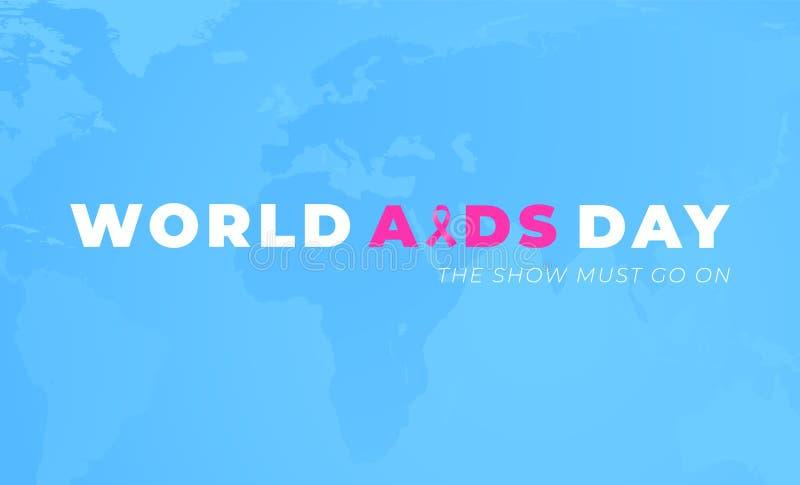世界艾滋病警报天海报设计有蓝色背景 皇族释放例证