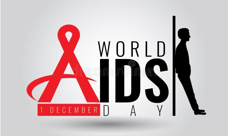 世界艾滋病日-传染媒介标志标志 12月1日 HIV 向量例证