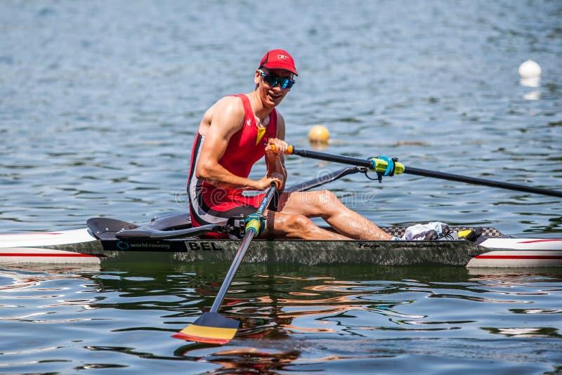 世界荡桨的杯竞争划船的比利时运动员 免版税库存图片