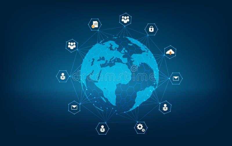 世界蓝色地图深蓝背景地图世界传染媒介全球性后勤学netwo的网络全球性地球通讯网络地图 皇族释放例证