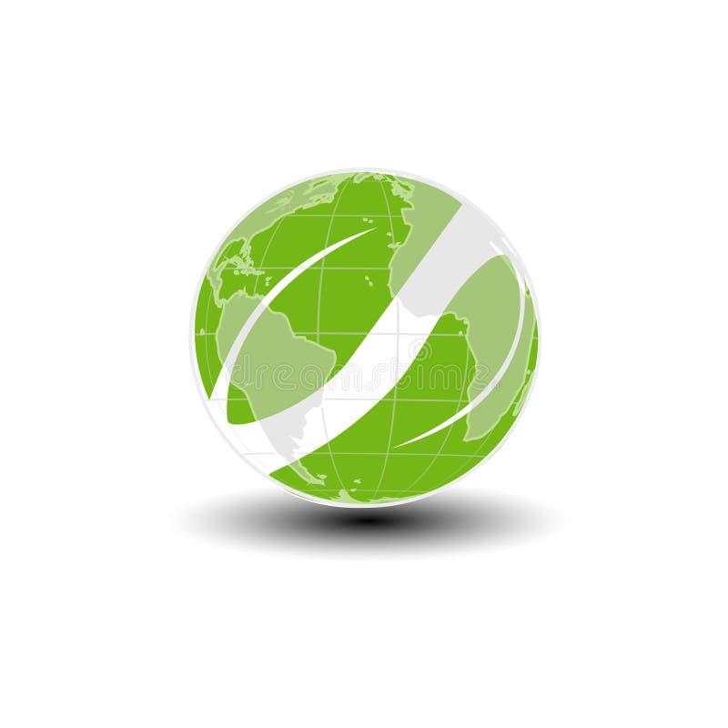 世界象 绿土和叶子标志 是绿色回收 本质符号 向量例证
