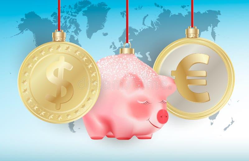 世界货币美元,在红色丝带的欧元和中看不中用的物品逗人喜爱的春节标志猪在蓝色世界地图背景 概念性 向量例证