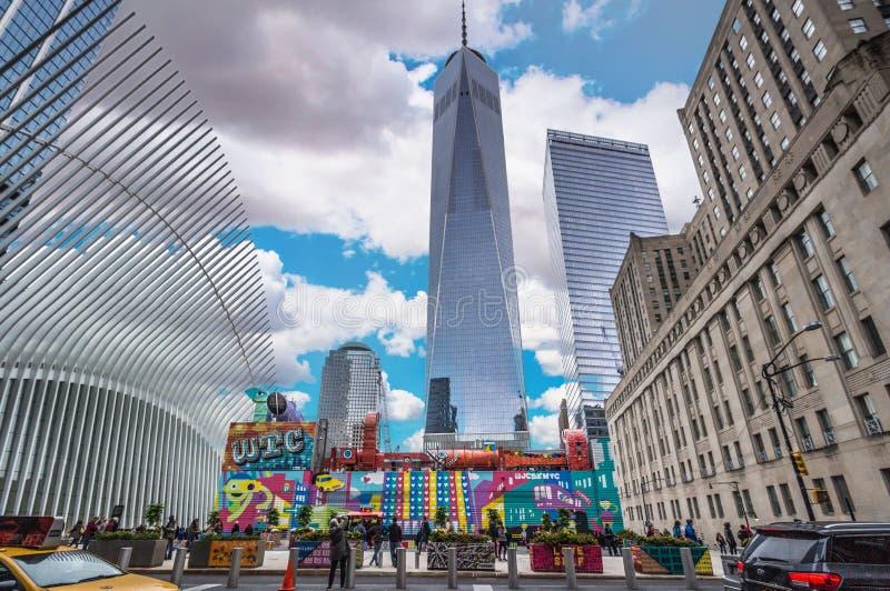 世界贸易中心一号大楼在秋天 免版税库存图片