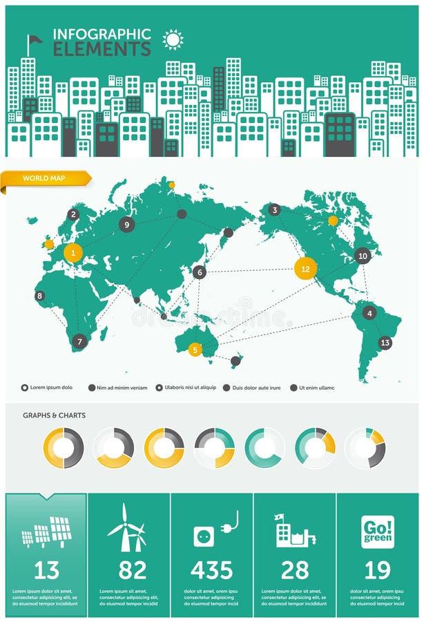 世界资源信息图表 库存例证