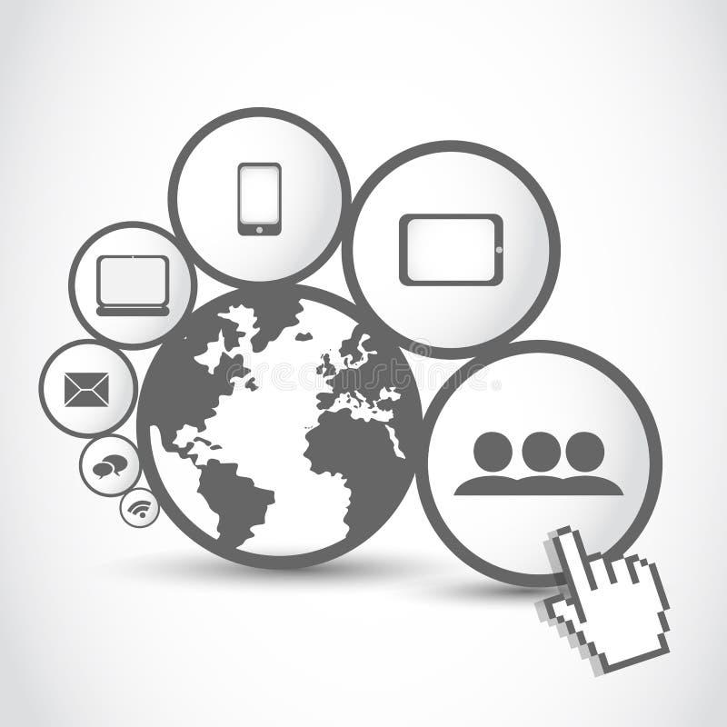 世界连接数技术 库存例证