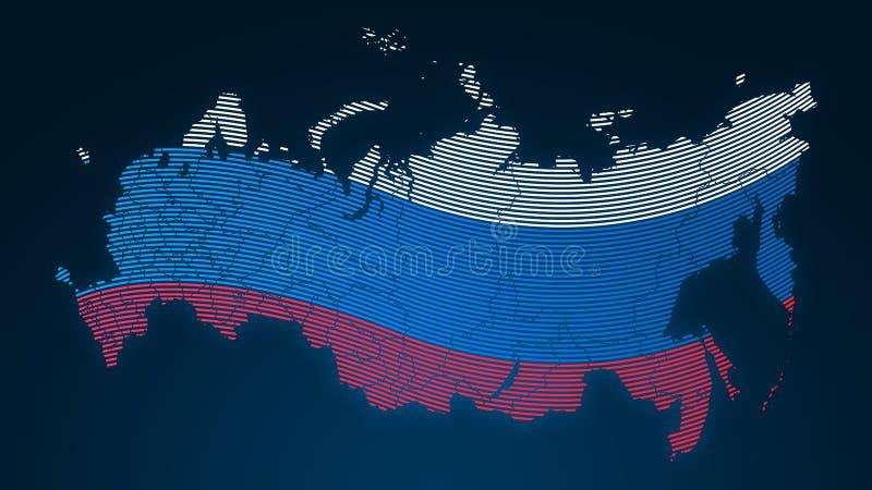 世界通信-俄罗斯-国旗-在黑背景加点的指纹 皇族释放例证