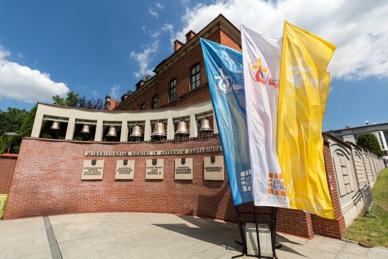 世界青年日旗子在神的慈悲圣所的2016年在Lagiewniki 克拉科夫 图库摄影