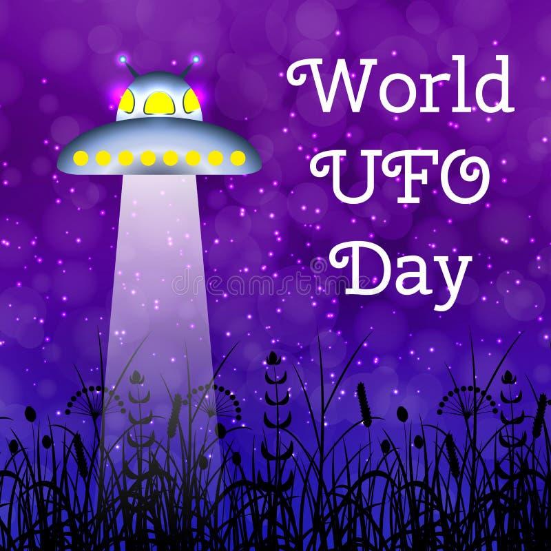 世界飞碟天 在草甸的飞碟发光射线 皇族释放例证