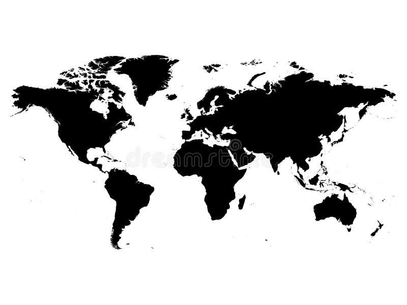 世界黑色传染媒介剪影地图  在白色背景的高详细的地图 向量例证
