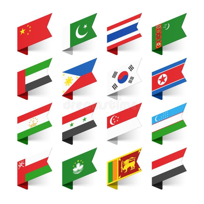世界,亚洲的旗子 库存例证