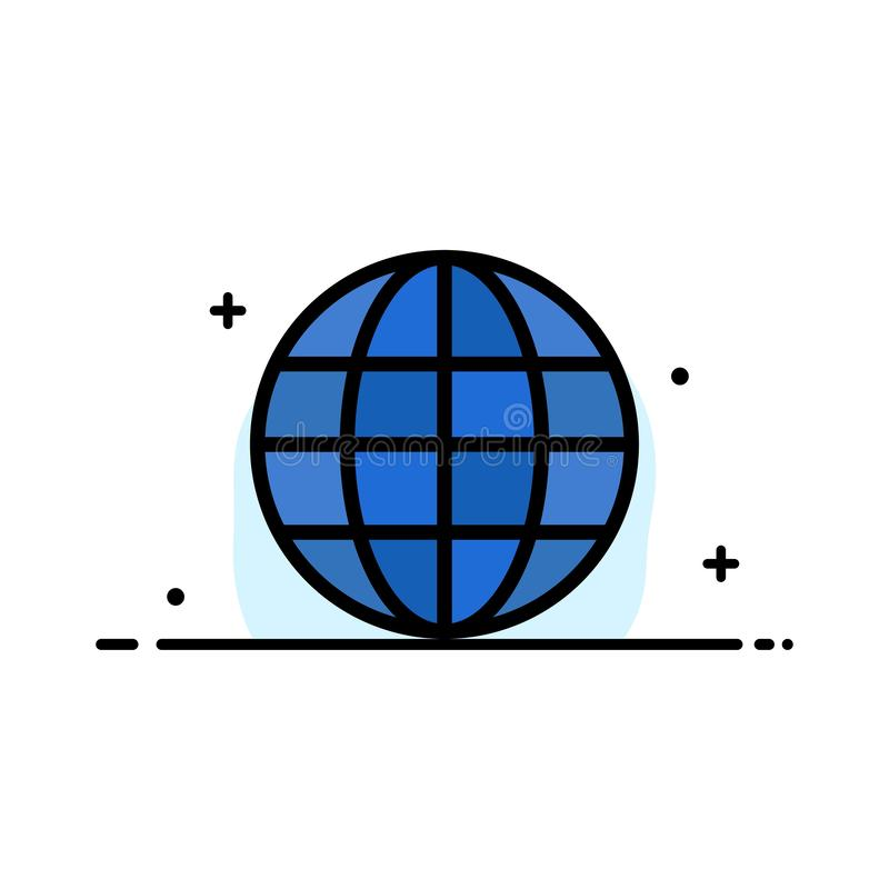 世界,地球,地图,互联网企业平的线被填装的象传染媒介横幅模板 皇族释放例证