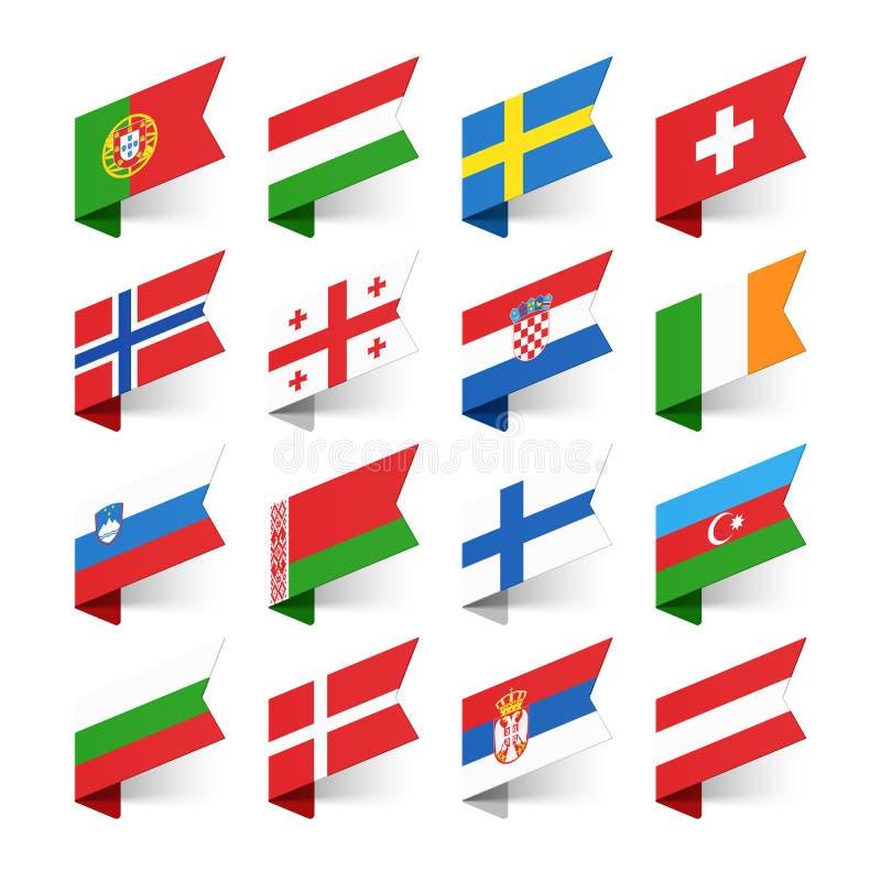 世界,欧洲的旗子 库存例证