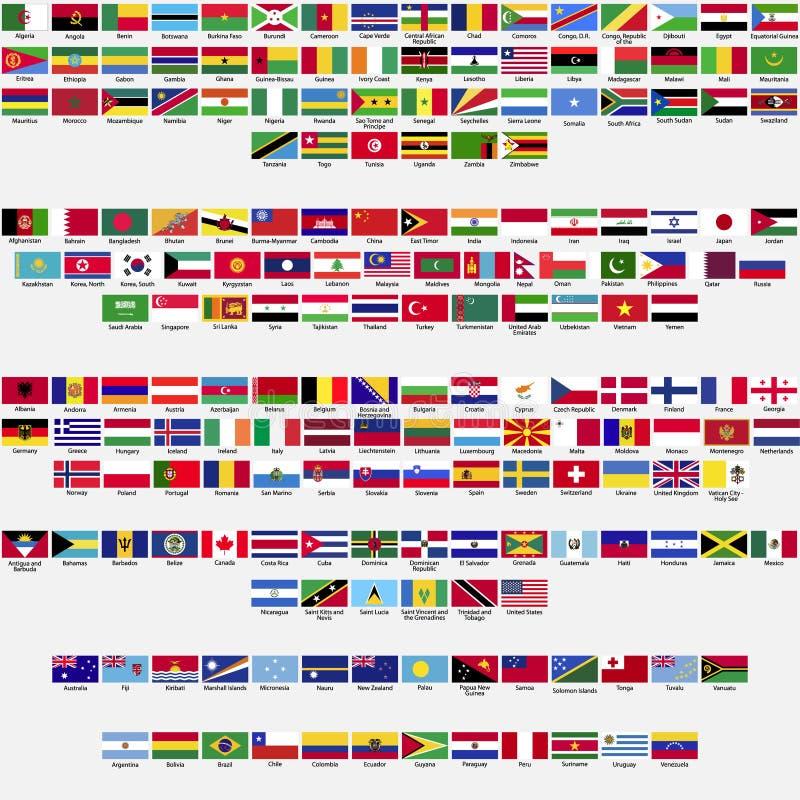 世界,汇集的旗子 向量例证