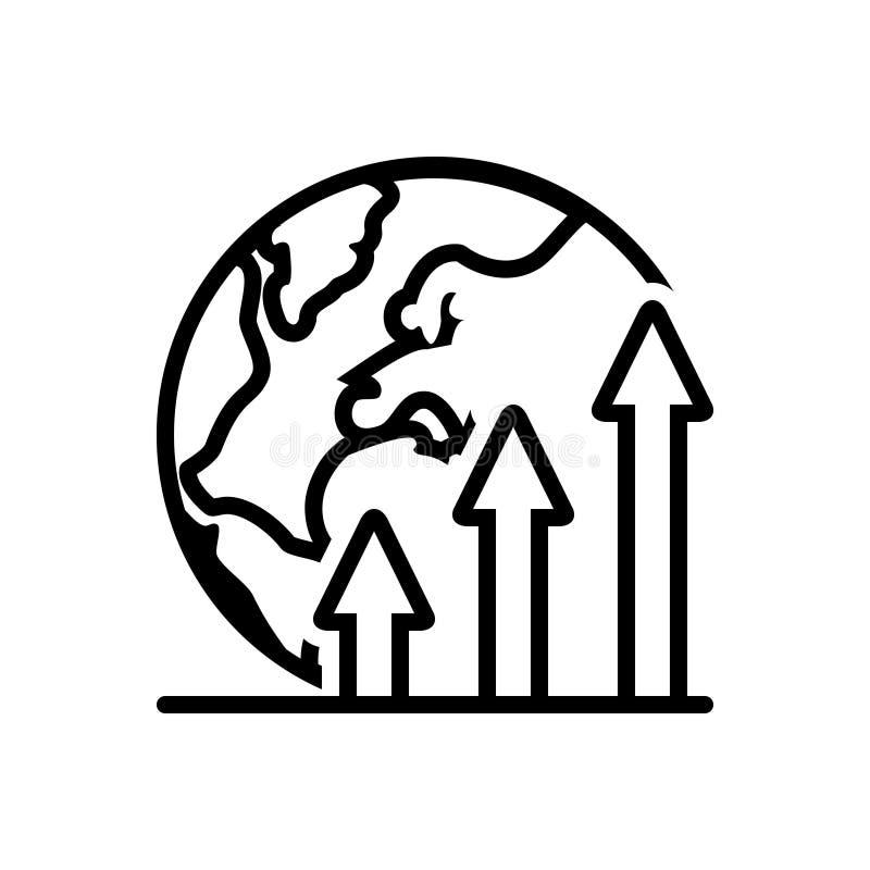 世界,经济和全球性的黑坚实象 向量例证