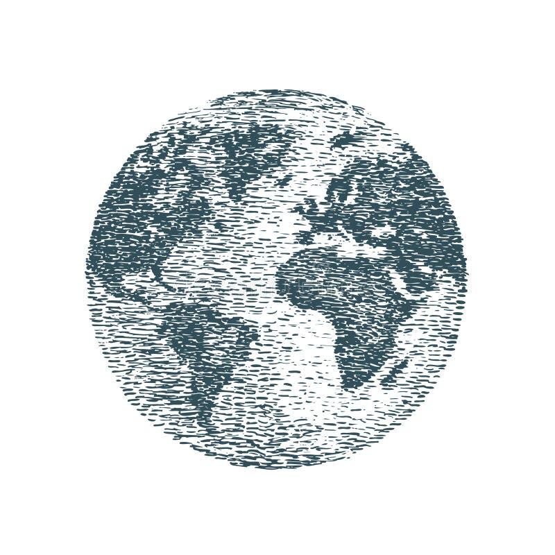 世界,行星地球,剪影 旅行,企业概念 手拉的葡萄酒传染媒介例证 库存例证
