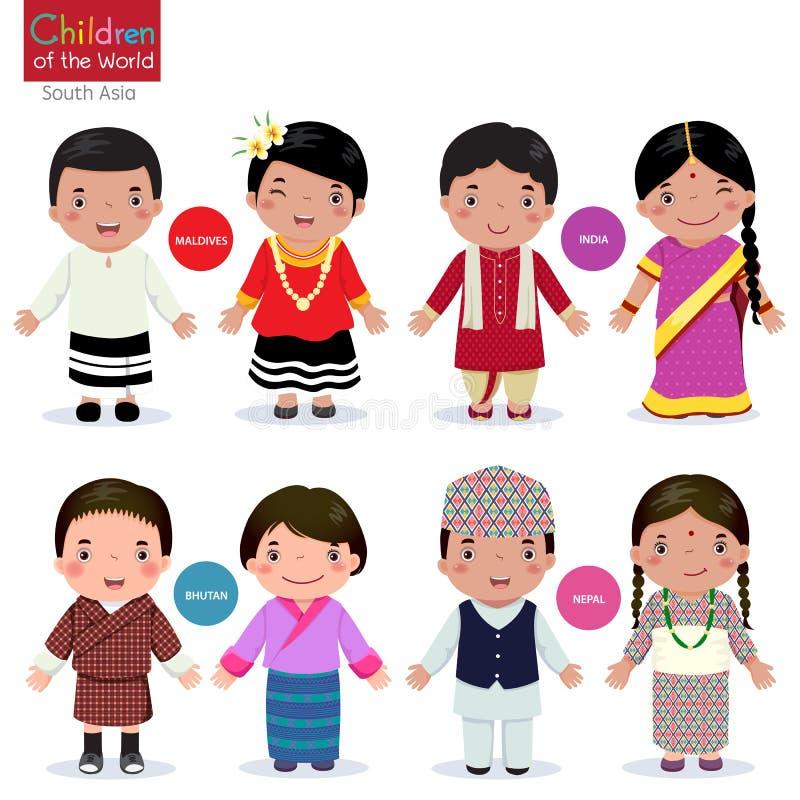 世界(马尔代夫、印度、不丹和尼泊尔)的孩子 皇族释放例证