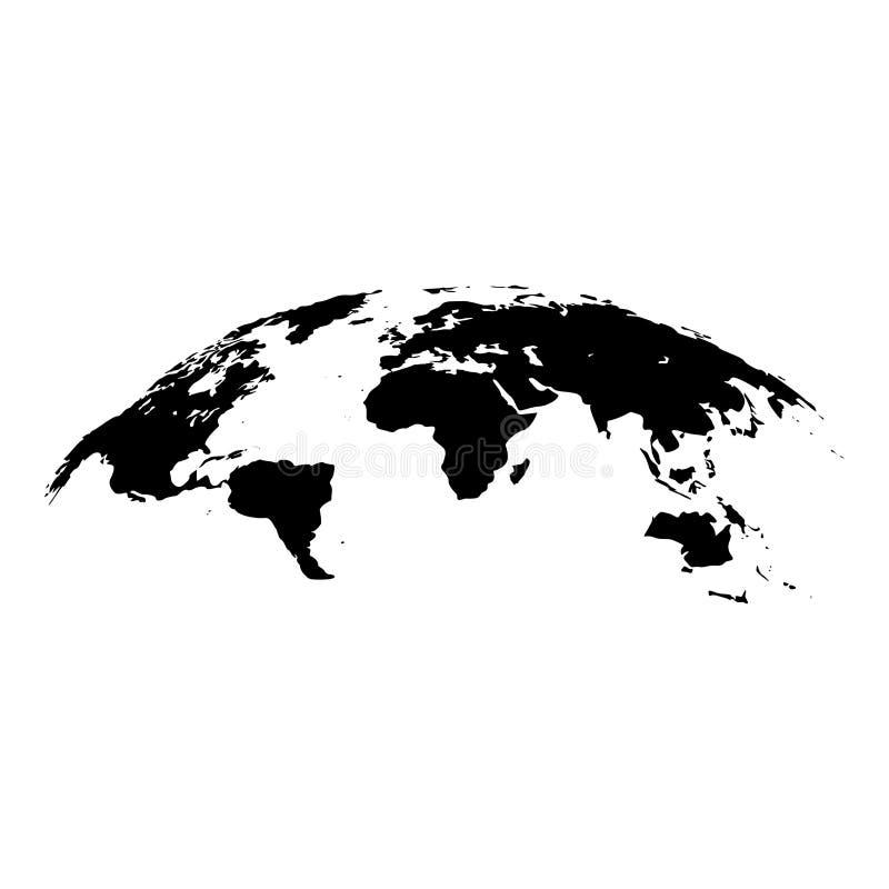 世界3d作用表面象黑色彩色插图平的样式简单的图象地图  皇族释放例证