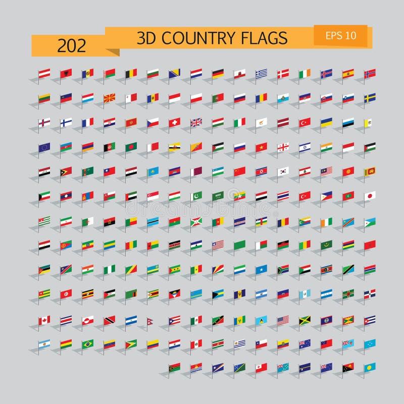 世界3d旗子集合 传染媒介例证10eps 库存例证
