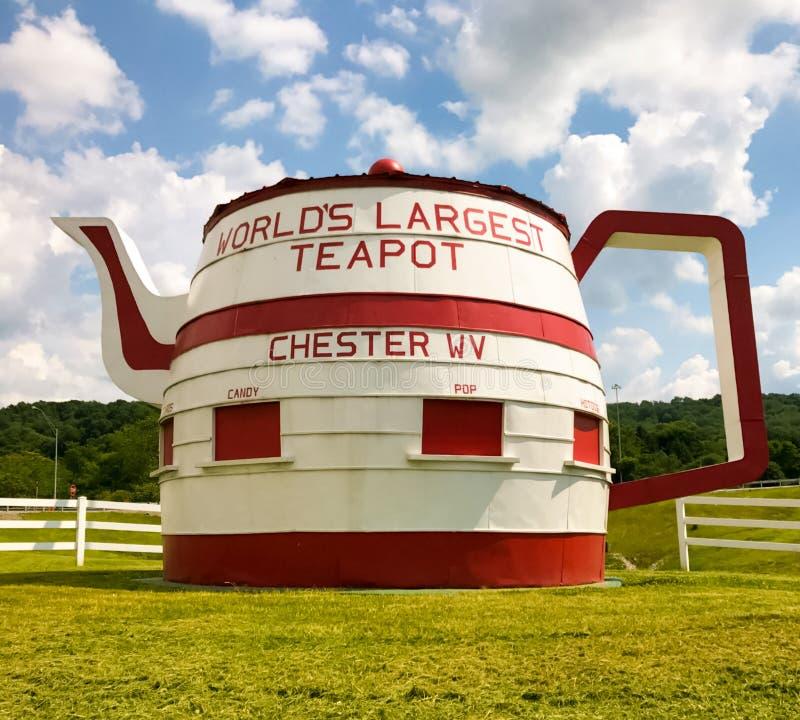 世界` s最大的茶壶彻斯特西维吉尼亚 免版税图库摄影