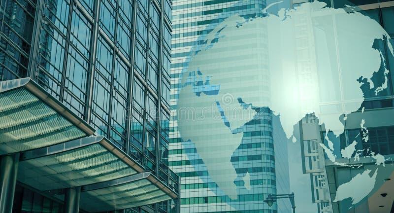 世界cybersecurity、财务大厦和世界地球 免版税库存图片