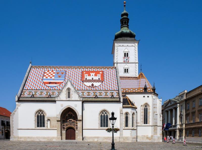 13世纪圣Mark's教会在萨格勒布 库存图片