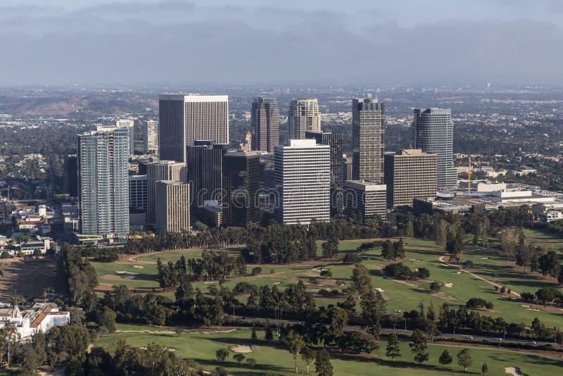 世纪城市下午鸟瞰图在洛杉矶加利福尼亚 免版税库存照片