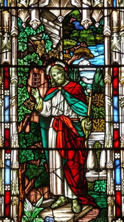 世纪教会玻璃耶稣第十九被弄脏 免版税库存照片