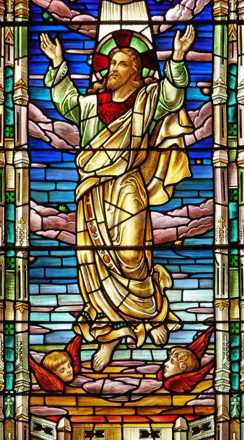 世纪玻璃耶稣第十九被弄脏的视窗 免版税库存图片