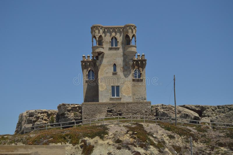 9世纪的圣卡塔利娜城堡宫殿的门面在塔里法角 自然,建筑学,历史,街道摄影 图库摄影