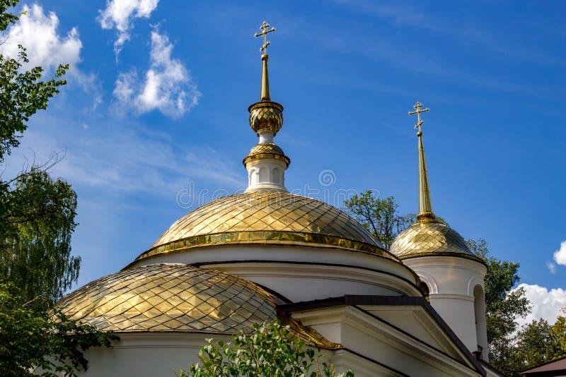 19世纪的天使迈克尔的教会的被镀金的圆顶在Kutepovo 免版税库存照片