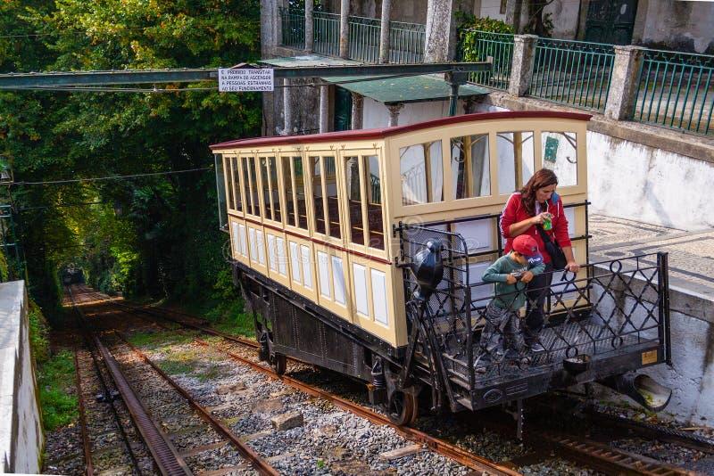 19世纪缆索铁路Bom耶稣做Monte圣所 图库摄影