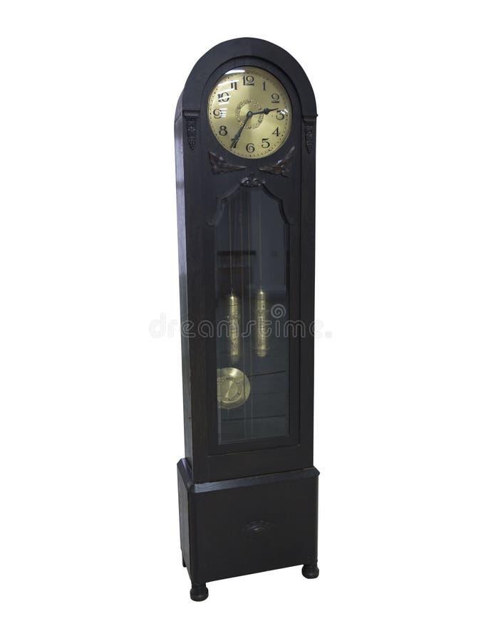 19世纪老在白色隔绝的摆锤木时钟 免版税库存图片