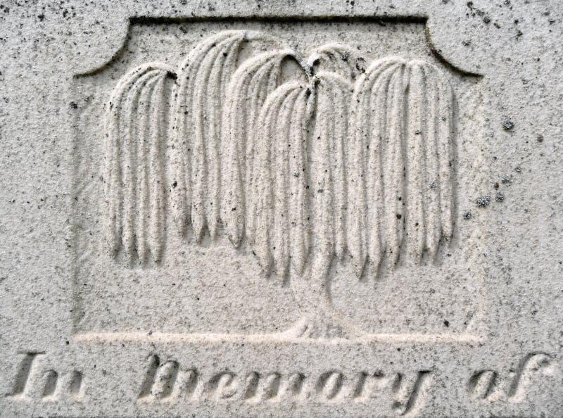 世纪详细资料第十九墓碑垂柳 免版税库存图片