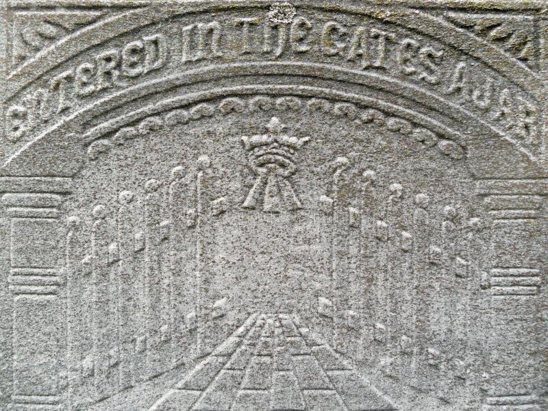 世纪详细资料给墓碑天堂第十九装门 库存照片