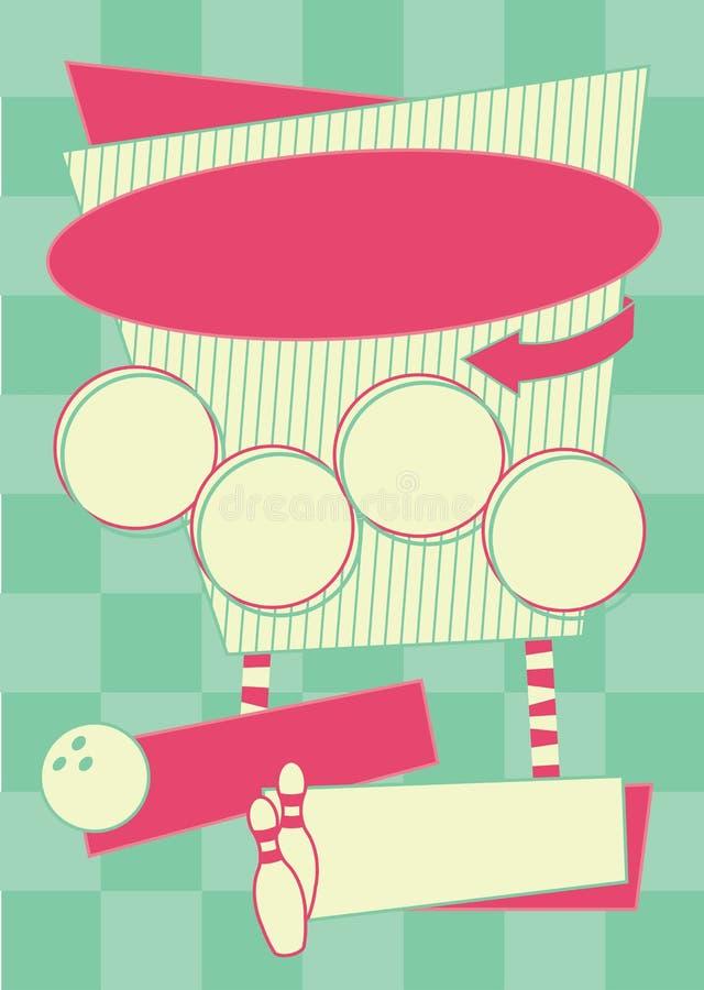 20世纪50年代滚保龄球的样式背景和框架 皇族释放例证