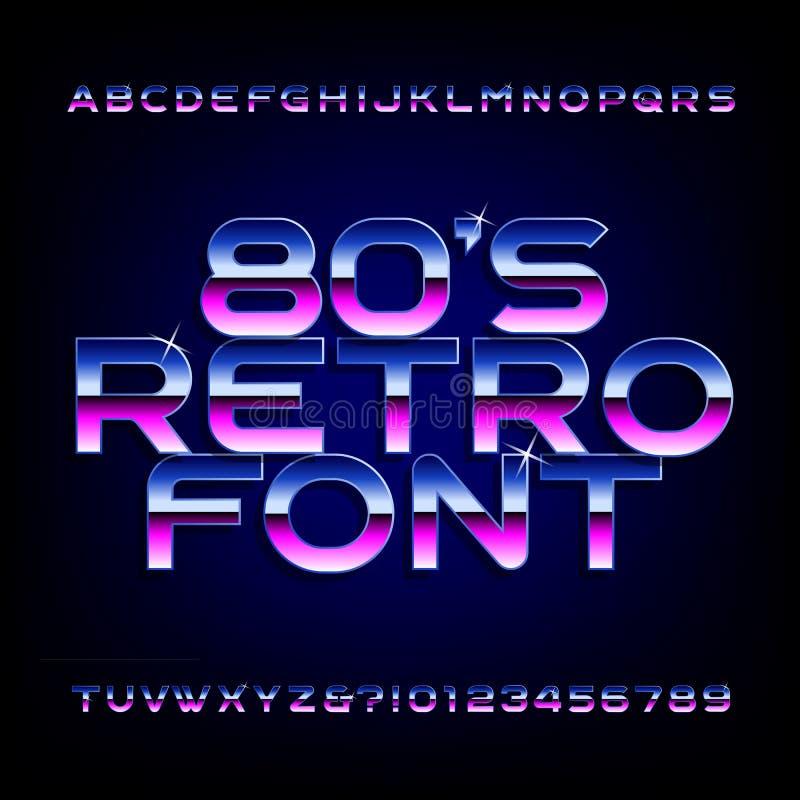 20世纪80年代减速火箭的字母表字体 金属作用发光的信件和数字 库存例证