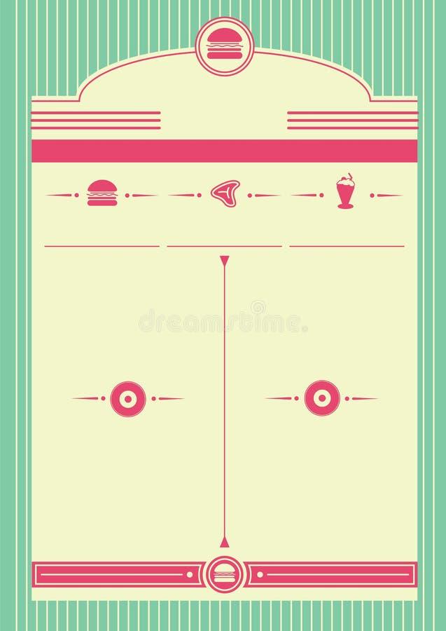 20世纪50年代吃饭的客人样式背景和框架 库存例证