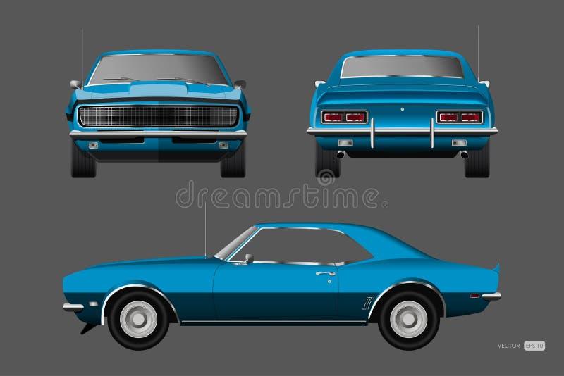 20世纪60年代减速火箭的汽车  在现实样式的蓝色美国葡萄酒汽车 前面、边和后面看法 3d经典汽车 皇族释放例证