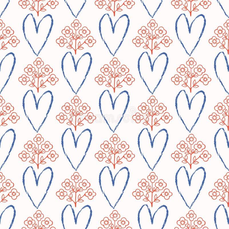 20世纪50年代称呼减速火箭的爱心脏花卉无缝的传染媒介样式 手拉的民间花 向量例证